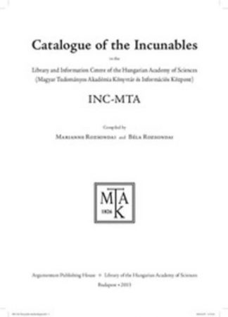 Catalogue of the Incunables